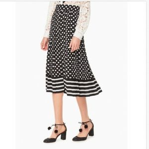 Kate Spade Dotted & Striped Pleated Midi Skirt